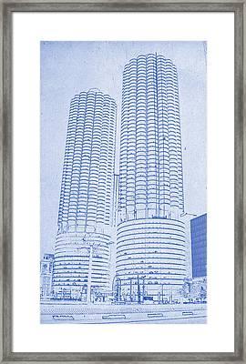 Marina City From Across The River Chicago Illinois Blueprint Framed Print