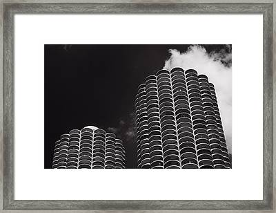Marina City Morning B W Framed Print