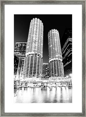 Marina City Towers At Night Black And White Picture Framed Print by Paul Velgos