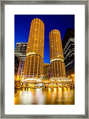 Marina City Towers At Night  Picture Framed Print by Paul Velgos