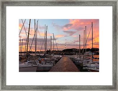 Marina In Desenzano Del Garda Sunrise Framed Print by Kiril Stanchev