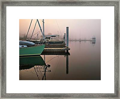 Framed Print featuring the photograph Marina Morning by Laura Ragland