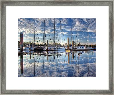 Framed Print featuring the photograph Marina Morning Reflections by Farol Tomson