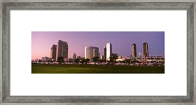 Marina Park And Skyline At Dusk, San Framed Print by Panoramic Images