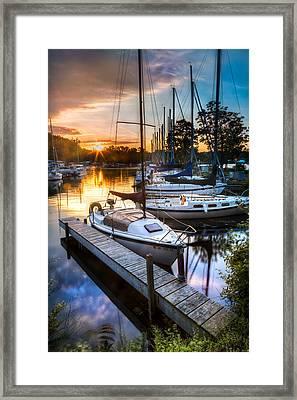 Marina Sunrise Framed Print by Michele Steffey