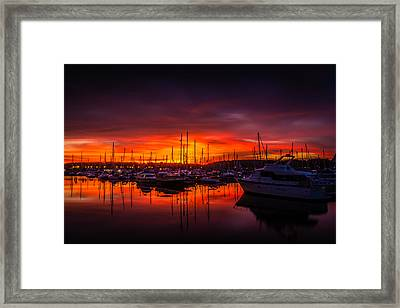 Marina Sunset Framed Print by Dawn OConnor