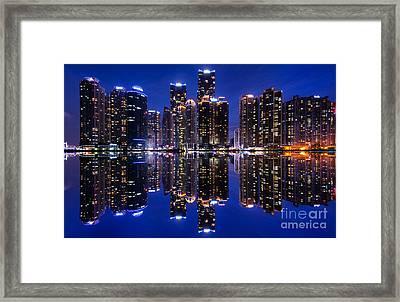 Marine City Reflection Framed Print by Andrea Jones