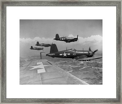 Marine Corsairs Fly On A Rocket Strike Framed Print by Everett
