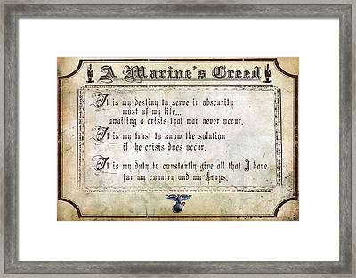 Marine Creed Framed Print by Annette Redman