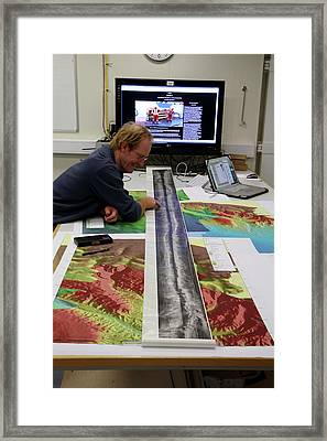 Marine Geologist Studying Seafloor Map Framed Print by B. Murton/southampton Oceanography Centre