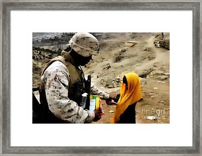 Marine Gives Afgan Girl Candy Framed Print
