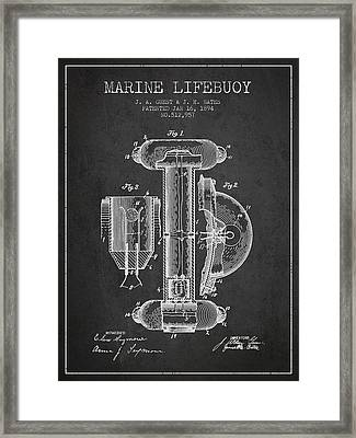 Marine Lifebuoy Patent From 1894 - Charcoal Framed Print by Aged Pixel
