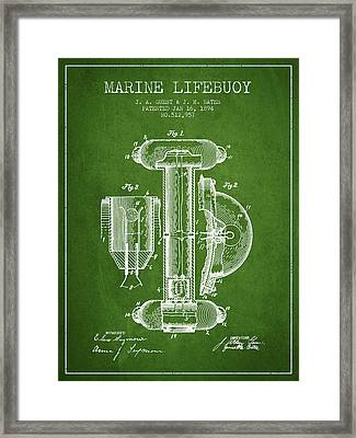 Marine Lifebuoy Patent From 1894 - Green Framed Print by Aged Pixel