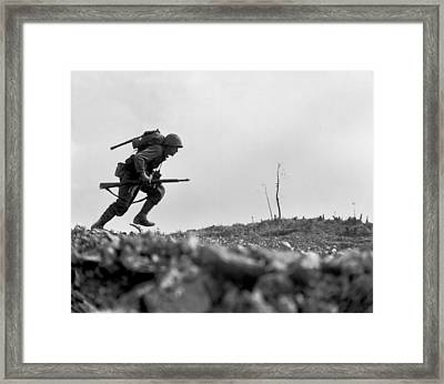 Marine Pfc. Paul E. Ison Runs Framed Print