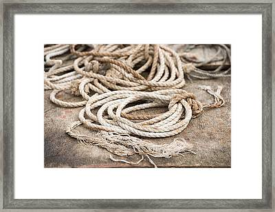 Marine Ropes Beige And Brown Colors Framed Print by Matthias Hauser