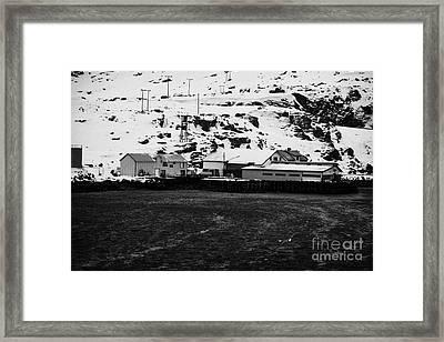 Marine Services Building And Pier Harbour Havoysund Finnmark Norway Euro Framed Print