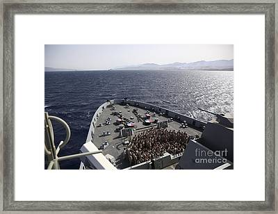Marines Assemble On The Forecastle Framed Print