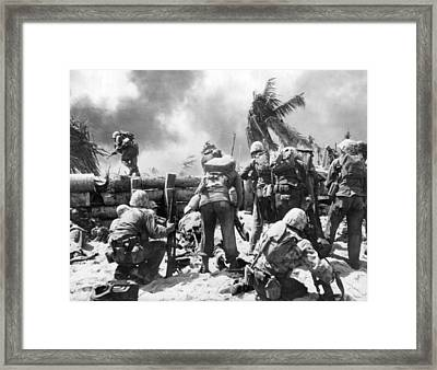 Marines Fight At Tarawa Framed Print
