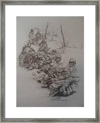 Marines In Korea Framed Print by Fabio Cedeno