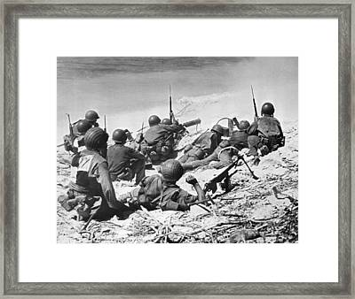Marines Invade Eniwetok Atoll Framed Print by Underwood Archives