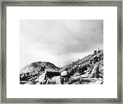 Marines Land On Iwo Jima Framed Print by Underwood Archives
