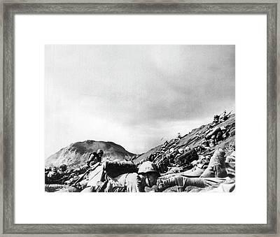 Marines Land On Iwo Jima Framed Print