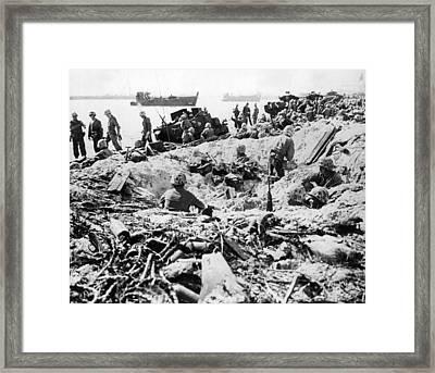 Marines Land On Roi-namur Framed Print by Underwood Archives