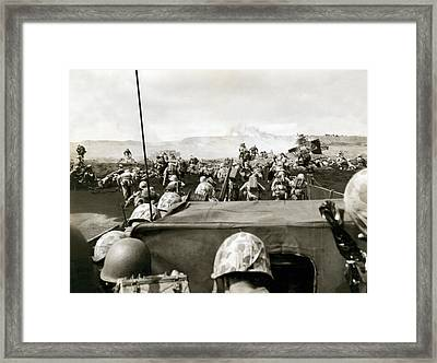 Marines Landing On Iwo Jima Framed Print by Underwood Archives