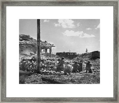 Marines Of The First Division Fire Framed Print