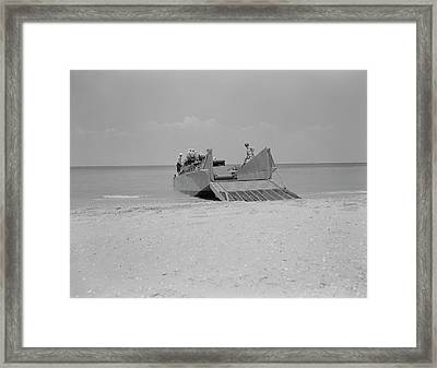 Marines Prepare To Set A Truck Ashore Framed Print