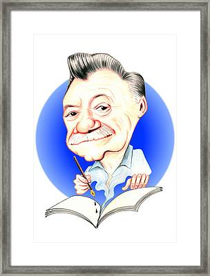 Mario Benedetti Illustration Framed Print by Diego Abelenda