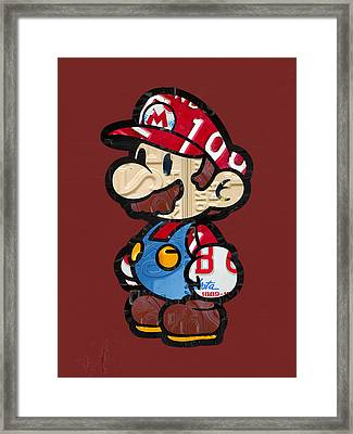 Mario Brothers Nintendo Original Vintage Recycled License Plate Art Portrait Framed Print by Design Turnpike