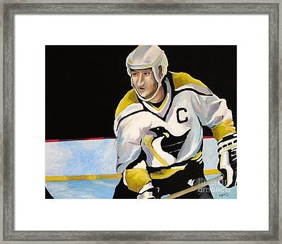 Mario Lemieux The Penguin That Saved Pittsburgh Framed Print by Philip Kram