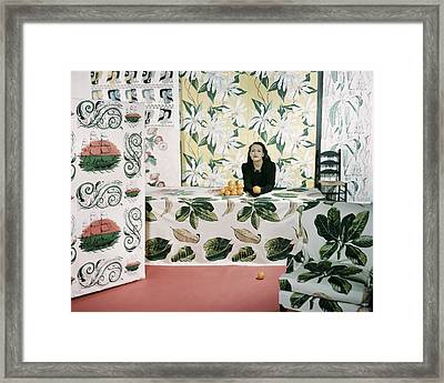 Marion Dorn Surrounded By Assorted Textile Framed Print by Horst P. Horst