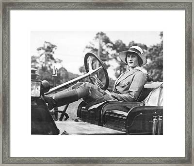 Marion Gaynor At The Wheel Framed Print by Underwood Archives
