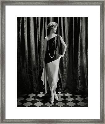 Marion Morehouse Wearing A Callot Dress Framed Print