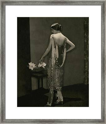 Marion Morehouse Wearing A Chanel Dress Framed Print