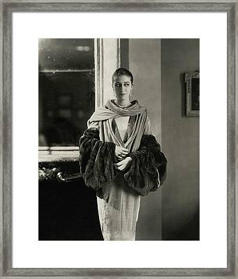 Marion Morehouse Wearing A Dress Framed Print by Edward Steichen
