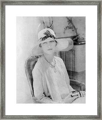 Marion Morehouse Wearing A Lanvin Straw Hat Framed Print
