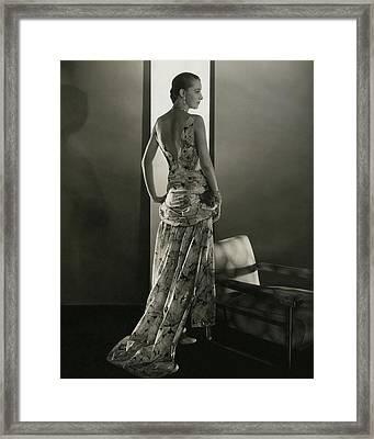 Marion Morehouse Wearing A Louiseboulanger Dress Framed Print by Edward Steichen
