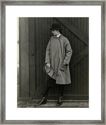 Marion Morehouse Wearing A Mackintosh Jacket Framed Print