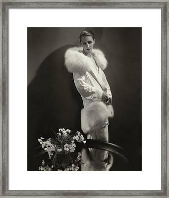 Marion Morehouse Wearing An Augustabernard Jacket Framed Print by Edward Steichen