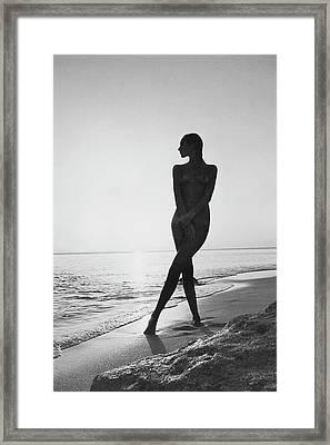 Marisa Berenson At A Beach Framed Print by Arnaud de Rosnay