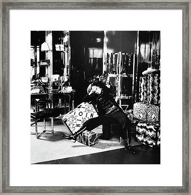 Marisa Berenson In The Valentino Store Framed Print