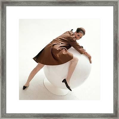 Marisa Berenson Posing On A Ball Framed Print