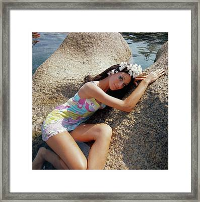 Marisa Berenson Posing On Rocks On The Sardinian Framed Print
