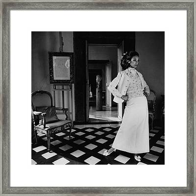 Marisa Berenson Wearing A Cotton Forneris Evening Framed Print