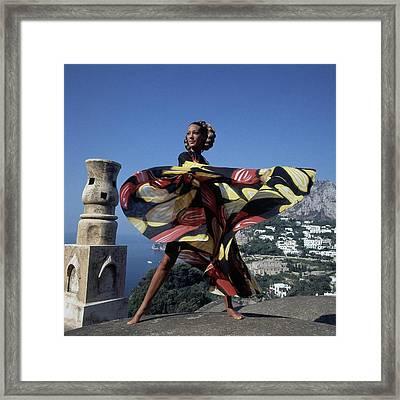Marisa Berenson Wearing A 'whirligig' Print Toga Framed Print