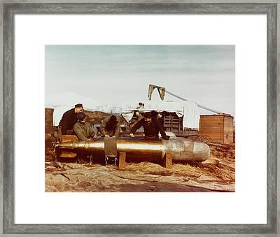 Mark 13 Torpedo Is Serviced By Navy Framed Print