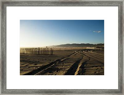 Mark In The Sand - Santa Monica Beach Framed Print by Oscar Karlsson